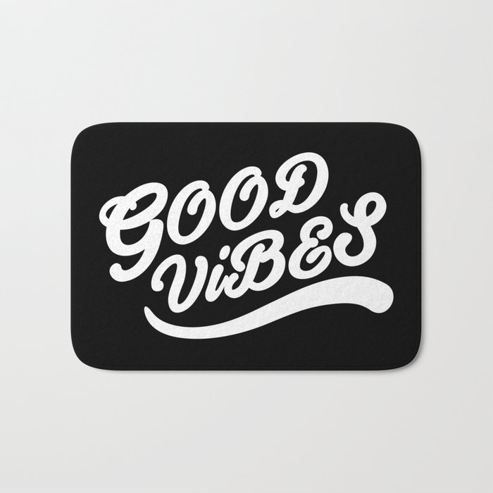 Good Vibes Happy Uplifting Design Black And White Bath Mat