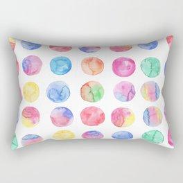 Artistic hand painted pink blue green watercolor brush strokes polka dots Rectangular Pillow