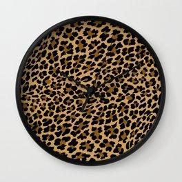 LEOPARD LEO SKIN ORIGINAL BLACK, BROWN. ANIMAL PRINT BY SUBGRL Wall Clock