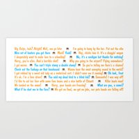 dumb and dumber Art Prints featuring Dumb and Dumber Quotes by Dr. Spaceman40