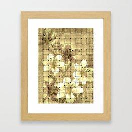 Vintage Floral Basket Weave Framed Art Print