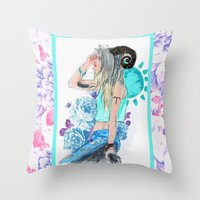 aries Throw Pillows featuring Aries by Sara Eshak