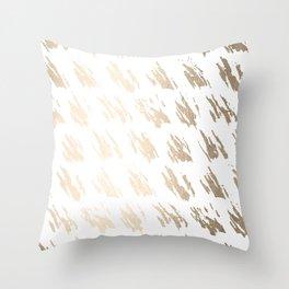 Luxe Gold Brush Polka Splotch on White Throw Pillow