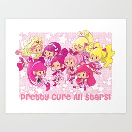 Pretty Cure All Stars - Pink Art Print