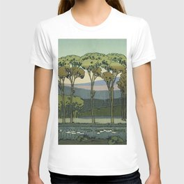 Japanese Block Print Summer Landscape T-shirt