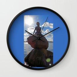 Little Mermaid Backlight Copenhagen Denmark Photograph Wall Clock
