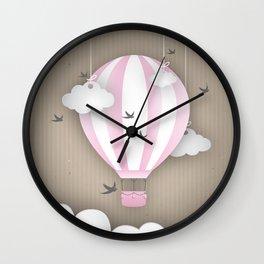 Pink Balloon Ride Wall Clock