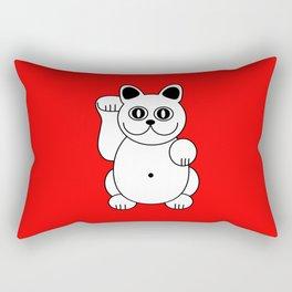 Good Luck White Cat On Red Background Rectangular Pillow