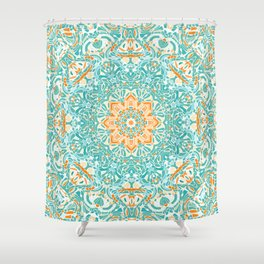 Orange and Turquoise Floral Mandala Shower Curtain