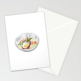 Watercolor Illustration of a Cuisine - Korean Bibimbap   韩式拌饭 Stationery Cards