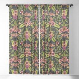 Dark Moths & Flowers - Moody Floral Pattern Sheer Curtain