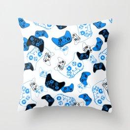 Video Game White & Blue Throw Pillow