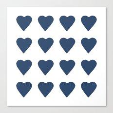 16 Hearts Navy Canvas Print