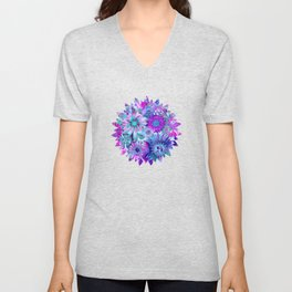 Rivalry of Flowers - blue & pink Unisex V-Neck