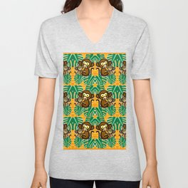Monkey pattern Unisex V-Neck