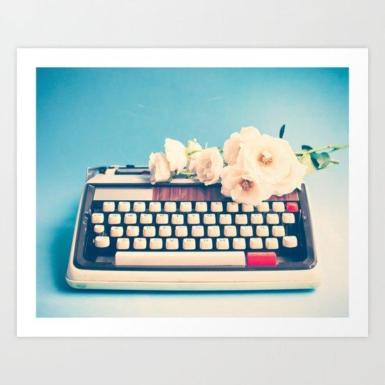 White Typewriter on Blue Art Print