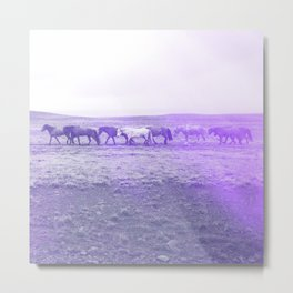 herd of horses purple aesthetic wildlife art abstract nature photography Metal Print