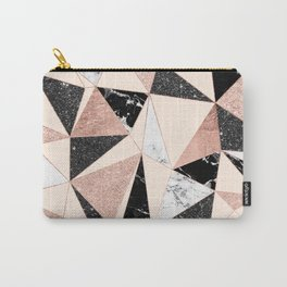 Modern black white marble rose gold glitter foil geometric abstract triangles pattern Carry-All Pouch