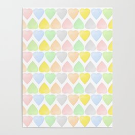 Candy Hearts Pattern Poster