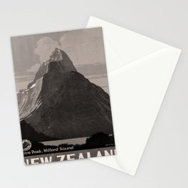 retro dark New Zealand old psoter Stationery Cards