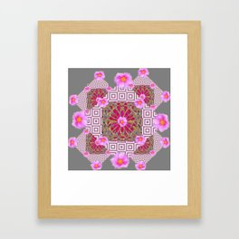 Grey Abstract Pink Roses Floral Pattern Framed Art Print