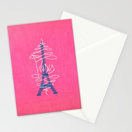 Girly Eiffel Tower Pink Whimsical Paris Typography Stationery Cards