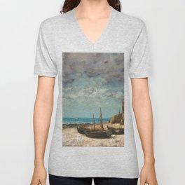 Gustave Courbet - Boats on a Beach, Etretat Unisex V-Neck