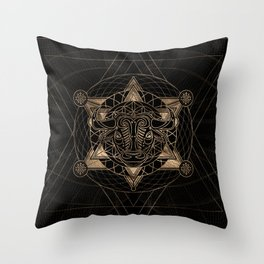 Bull in Sacred Geometry - Black and Gold Throw Pillow