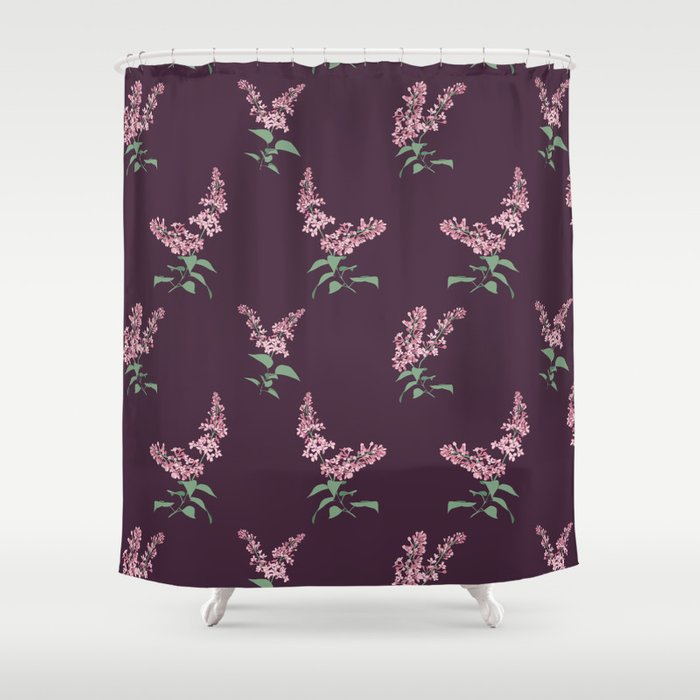 Lilac Flowers Spring Pattern Shower Curtain