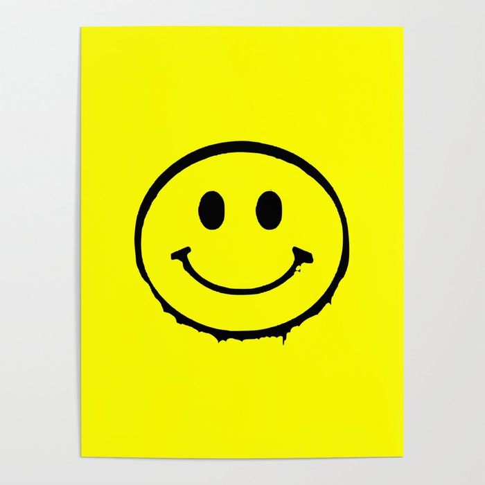 smiley face rave music logo Poster by jamie25
