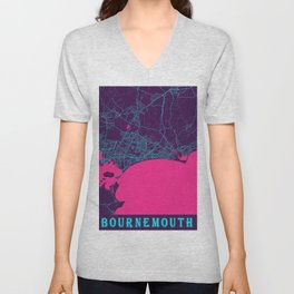 Bournemouth Neon City Map, Bournemouth Minimalist City Map Art Print Unisex V-Neck