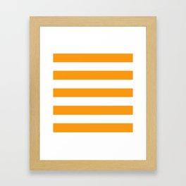 Kumquat - solid color - white stripes pattern Framed Art Print
