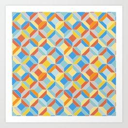 colorful geometric diamonds Art Print