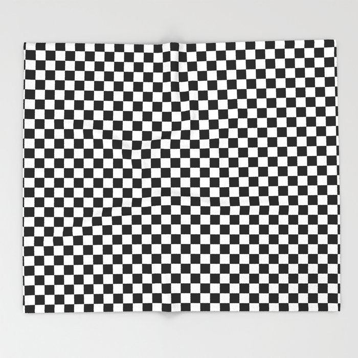 Black White Checks Minimalist Throw Blanket
