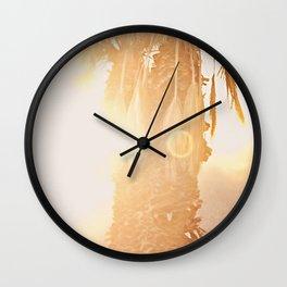 California Fine Art Print Yellow, Peach, Cream La Quinta Palm Tree Photograph - Desert Sunset  Wall Clock