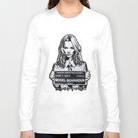 kate moss Long Sleeve T-shirts featuring Kate Moss by Merlin Dobaryan