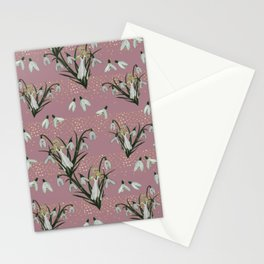 Lady Snowdrop on old rose Stationery Cards