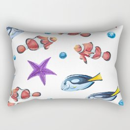 Watercolor reef fish clown and starfish Rectangular Pillow