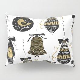 Black and Gold Modern Christmas Ornament Print Pillow Sham