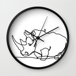 Rhino Line Art Wall Clock