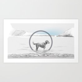 dog wading in fjord Art Print