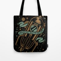 vonnegut Tote Bags featuring sirens of titan - vonnegut by miles to go