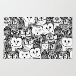 just owls black white Rug