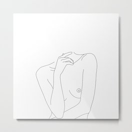 Woman's body line drawing - Cecily Metal Print