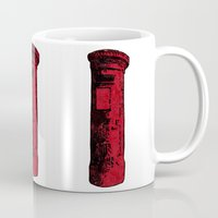 british Mugs featuring British Postbox by Carrie at Dendryad Art
