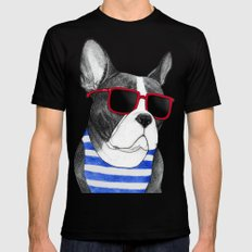 Frenchie Summer Style Black LARGE Mens Fitted Tee