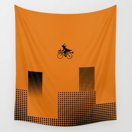 Witch on a Bicycle Wall Tapestry
