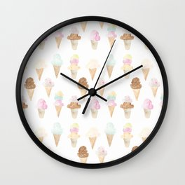 Watercolor Ice Cream Cones Wall Clock