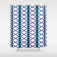 evil eye Shower Curtains featuring Evil Eye Large Print by MY  HOME