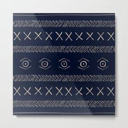 Navy Blue Mudcloth  Metal Print